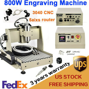 Usb 5 Axis Cnc Router Engraver 3040 800w Engraving Drilling Milling Machine