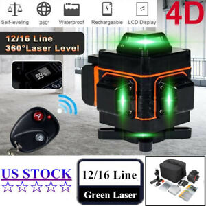 4d Laser Level 16 Lines Green Beam Auto Self Leveling 360 Rotary Cross Measure