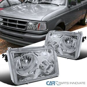 93 97 Ford Ranger Pickup Clear Lens Headlights W Projector Fog Lamps Left Right