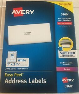 Avery 5160 Easy Peel White Address Labels 1 X 2 5 8 3 000 Labels