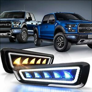 Fog Lights W Blue White Led Drl Light Amber Sequential For Ford F150 Raptor
