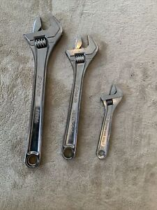 Snap On 3pc Adjustable Wrench Set Ad12a Ad10a And Ad6 Never Used