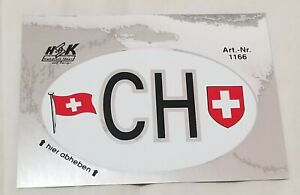 Switzerland Oval Sticker Decal Foil Swiss County Code Sticker Car Luggage Laptop