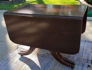 30 S Antique Duncan Phyfe Style 4 Pedestal Mahogany Drop Leaf Table W 4 Leaves