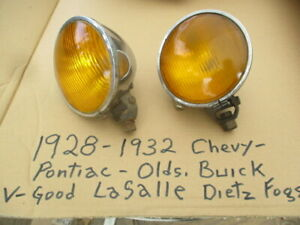 1928 1934 Dietz Amber Fog Lights With Yoke Mounting Bracket