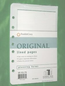 Classic 50 Pages Lined Note Sheets Franklin Covey Planner Refill Fill