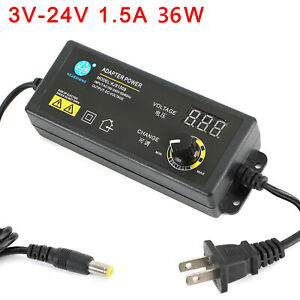 Adjustable Voltage 3 24v 1 5a Power Supply Adapter Ac dc Switch W Led Display