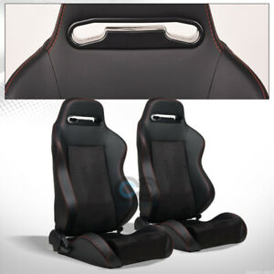 Universal Black Suede Leather Reclinable Racing Bucket Seats Slider Pair C09i