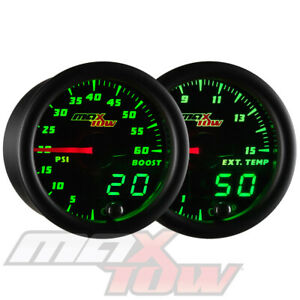 Maxtow Black Digital Analog 60psi Diesel Boost 1500f Egt Pyrometer Gauge Set