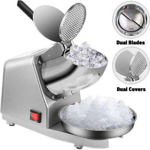 Electric Ice Crusher Shaver Snow Cone Maker Machine Dual Blades 143lbs hr Silver