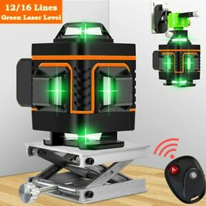 16 Line 360 Rotary Laser Level Green Beam Auto Self Leveling Measure Tool Kit