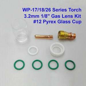 9pcs set Tig Welding Stubby Gas Lens 12 Glass Cup Kit Supply For Wp 17 18 26