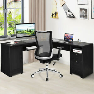 L shaped Corner Computer Desk Writing Table Study Office W Drawers Storage