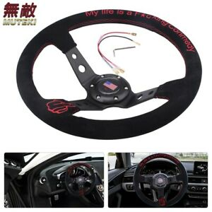 14 suede Leather Steering Wheel Red Embroidery Deep Dish 95mm Drifting Usa Flag