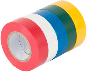 Electrical Wire Tape 5 Pack Set Assorted Colors Flame Retardant General Purpose