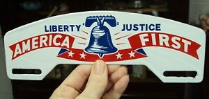 Vtg Enamel Liberty Justice America First License Plate Topper 9 11 16 X 3 3 8