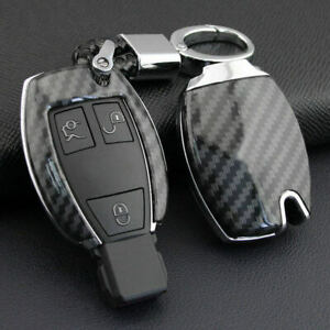Carbon Fiber Car Key Fob Cover Case Holder Shell For Mercedes Benz Accessories