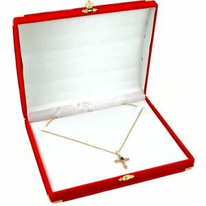 Red Velvet Necklace Jewelry Gift Box With Brass Corners 7 1 2 X 6 3 8