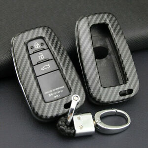 Carbon Fiber Smart Key Fob Case Cover Chain Holder For Toyota Camry Rav4 Part 86