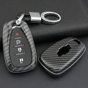 Carbon Fiber Smart Key Fob Case Cover Keychain Shell For Chevrolet Chevy Parts