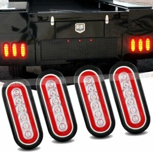 4x Trailer Truck 6 Led Sealed Red Yellow 6 Oval Stop Turn Tail Light Waterproof