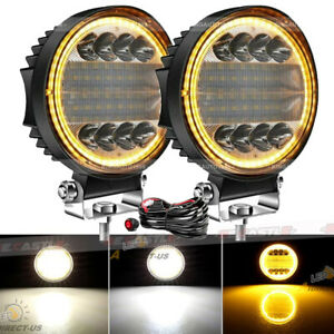 5 Inch 200w Led Work Round Light Bar Spot Flood Driving Fog Amber Lamp Offroad