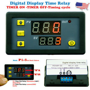 Dc12v 20a Digital Display Time Delay Relay Timing Timer Cycling Module Switch