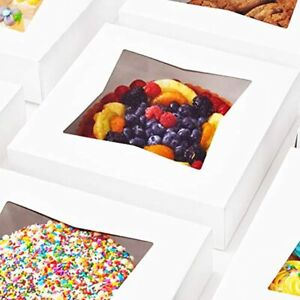 Gourmet 10in White Bakery Boxes 25 Pk Cute Window Displays For Pies Cakes And