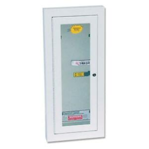 Fire Extinguisher Cabinet Semi recessed Glass Steel 10 lb With Key Steel Lock