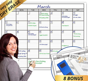 Dry Erase Monthly Large White Board Wall Calendar 38 X 50 Jumbo Laminated 30