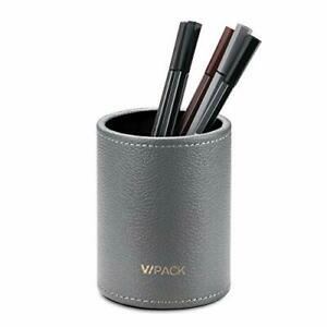 Vpack Round Pen Pencil Cup Holder Stand Desk Office Organizer Pu Leather
