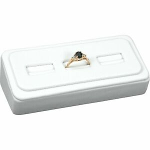 White Faux Leather 3 Slot Ring Jewelry Display Stand 4 3 4 x 2 1 8