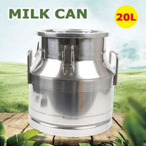 20l 5 25gal Milk Can Wine Pail Bucket Tote Jug Oil Beer Storage Stainless Steel