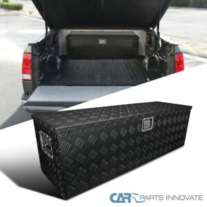 49 Heavy Duty Black Textured Aluminum Tool Box Trailer Storage Trunk Under Bed