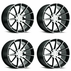 Set 4 18 Ruff Rs2 18x10 Gloss Black W Machine Cut Face 5x4 5 Wheels 25mm Rims