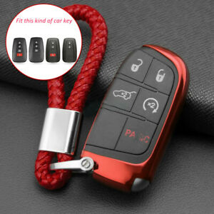 Car Keys Fob Cover Chain Ring Case For Jeep Grand Cherokee Renegade Compass Red