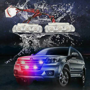 Police Lights 2pcs set Blue And Red Vip Police Led Strobe Flasher Lights 6 Bulbs
