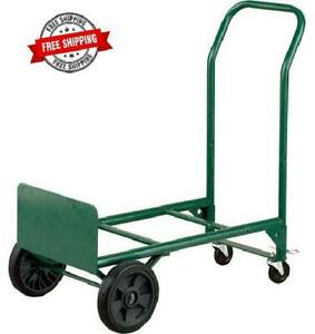 Hand Truck N Dolly 2 In 1 Convertible Steel 400 Lb Capacity Swivel Casters Green