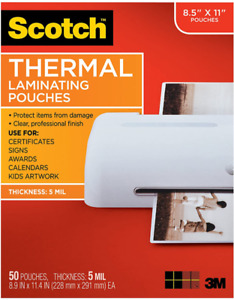 Scotch Thermal Laminating Pouches 5 Mil Thick 8 9 X 11 4 inches 50 pack