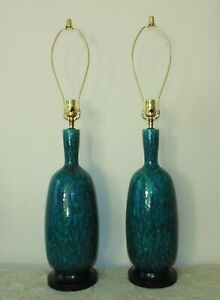 Pair Of Table Lamps Turquoise Drip Glaze Mid Century Modern