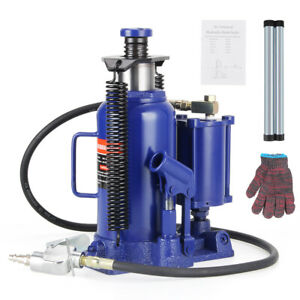 20 Ton Air Manual Pneumatic Hydraulic Bottle Jack Automotive Repair Tool Blue