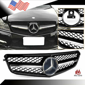 Front Grille Amg Style W Emblem For Mercedes Benz 2008 2014 W204 C200 C250 C300