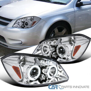 For 05 10 Chevy Cobalt Pontiac G5 Pursuit Led Halo Projector Headlights Lamps