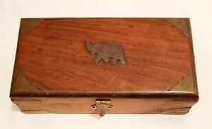 Beautiful Vintage Hinged Wooden Box With Brass Elephant