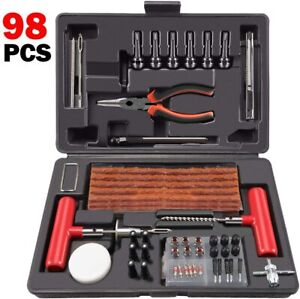 Flat Tire Repair Plug Tools Kit Heavy Duty Universal For Jeep Atv Tractor 98 Pc