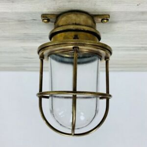 Small Juha Brass Caged Clear Glass Globe Nautical Ceiling Light