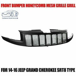 For 14 16 Jeep Grand Cherokee Srt8 Type Front Bumper Honeycomb Mesh Grille Grill