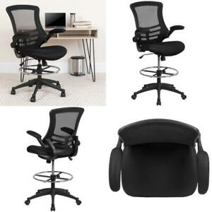 Mid back Black Mesh Ergonomic Drafting Chair Adjustable Foot Ring Flip up Arms