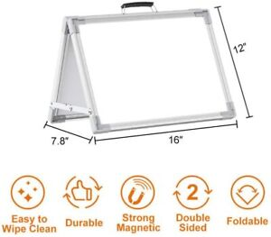Small Dry Erase White Board Portable Double sided Magnetic Board Stand