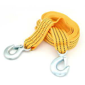 3 Tons Car Tow Cable Towing Strap Rope With Hooks Emergency Heavy Duty 13 Ft
